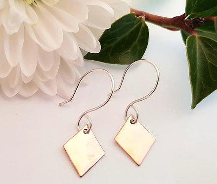 Copper Diamond Drop Earrings