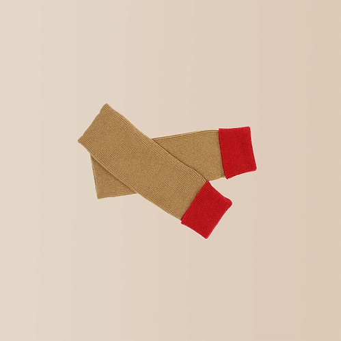 Cashmere Wrist Warmers in Scarlet and Camel