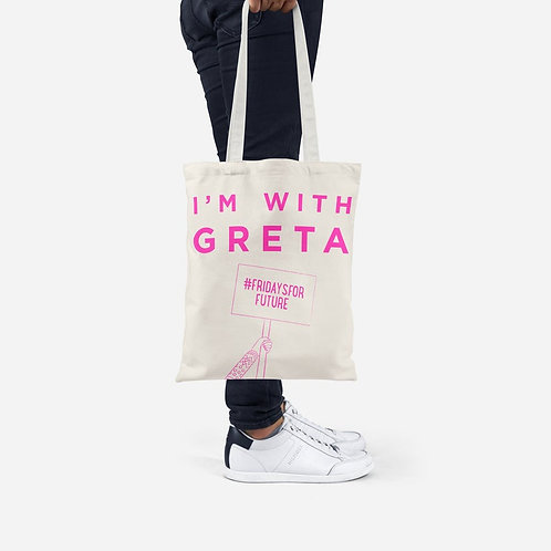 I'm with Greta Slogan Tote Bag in Pink