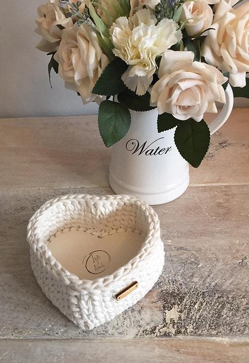 Crochet Heart Basket in Cream