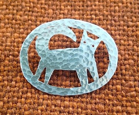 Aluminium Framed Cat Brooch