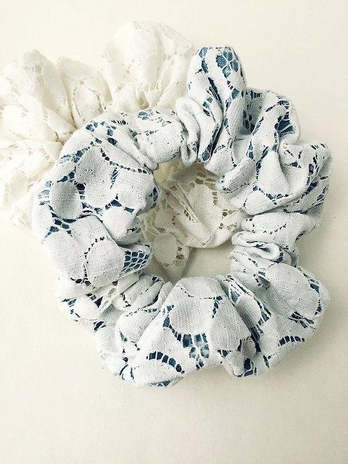 Cream Lace and Denim Scrunchie