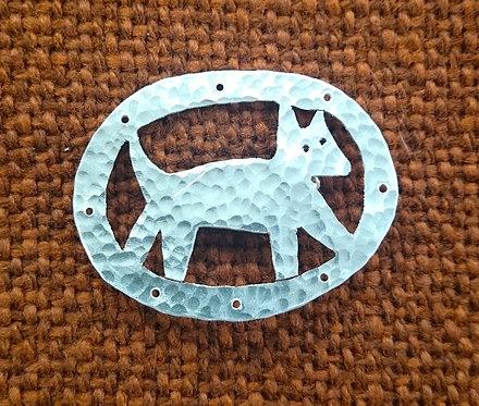 Aluminium Framed Dog Brooch