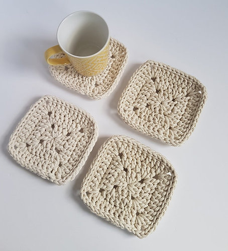 Set of 4 Square Crocheted Coasters in Cream