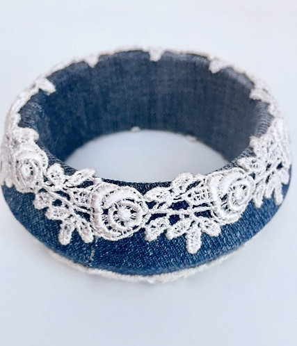 Wide Lace and Denim Bangle