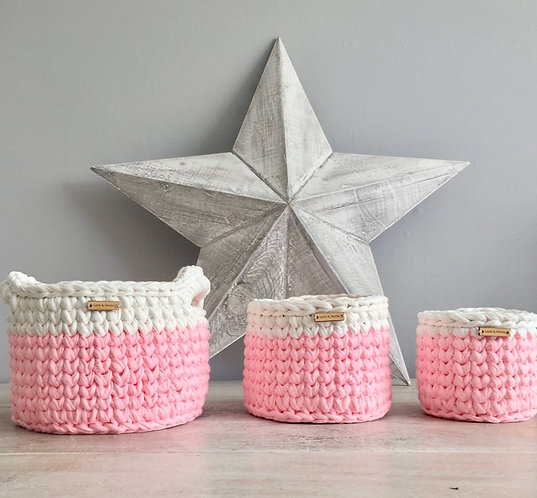 Set of Three Crochet Baskets with Handle in Pink and Cream