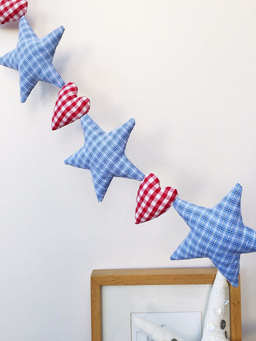Star and Heart Hanging Decoration - Blue and Red