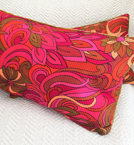 Vintage Rectangular Fabric and Velvet Cushion