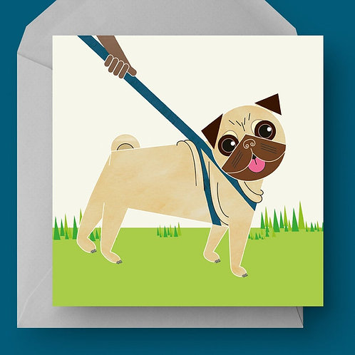 Pug Dog Charity Greetings Card