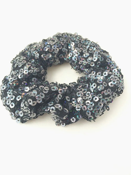 Navy Sequinned Scrunchie