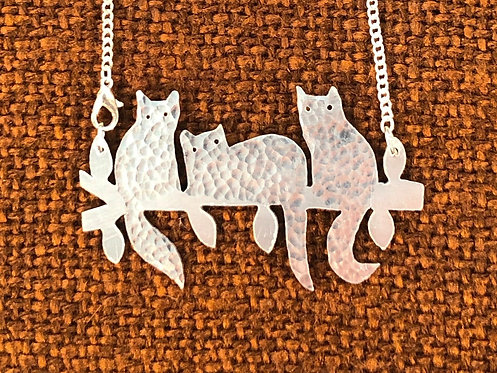 Aluminium Cats in a Tree Necklace