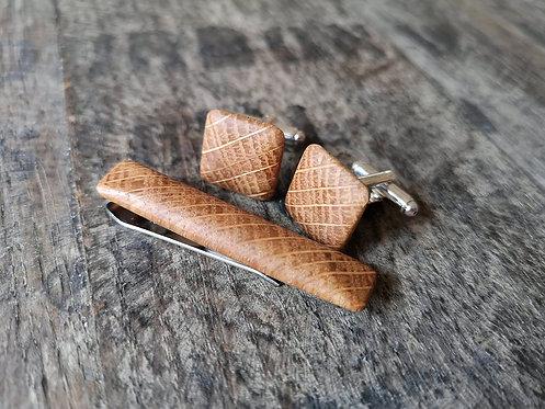 Oak Whiskey Barrel Cufflinks and Tie Clip Set