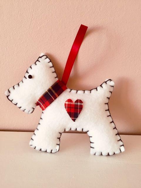 White Westie Dog Felt Decoration