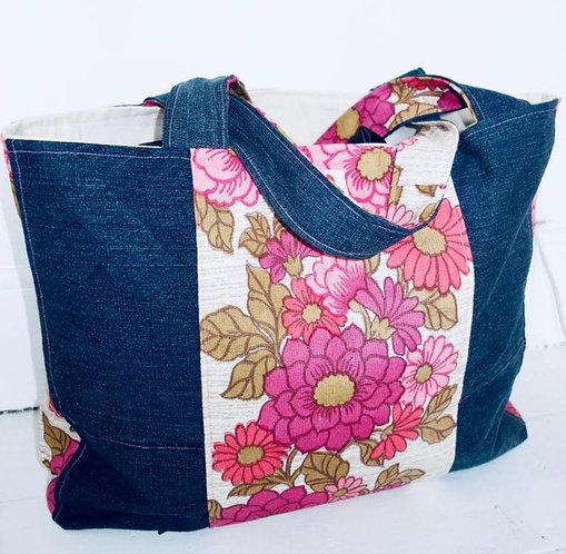 Denim Floral Shopper