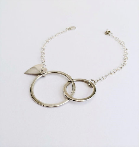 Silver Circles Heart Charm Bracelet
