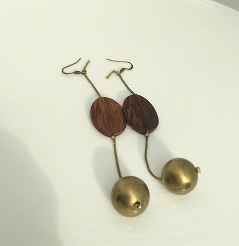 Brass and Wood Earrings
