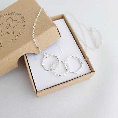 Silver Triple Hexagon Necklace