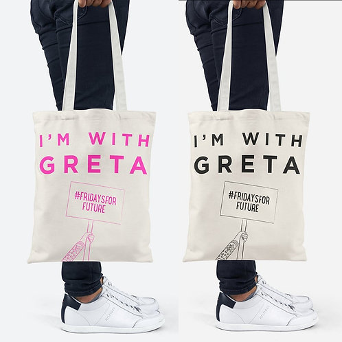 Pair of 'I'm with Greta' Slogan Tote Bags