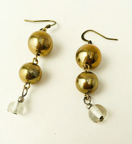 Brass and Glass Drop Earrings