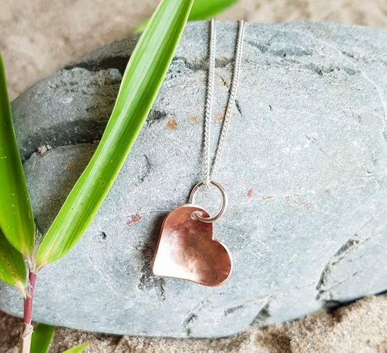 Off-Centre Copper Heart Necklace