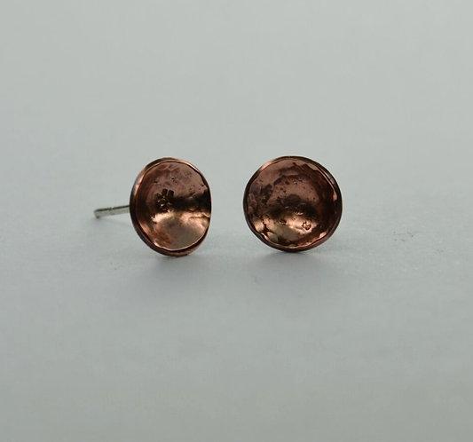 Copper Domed Stud Earrings