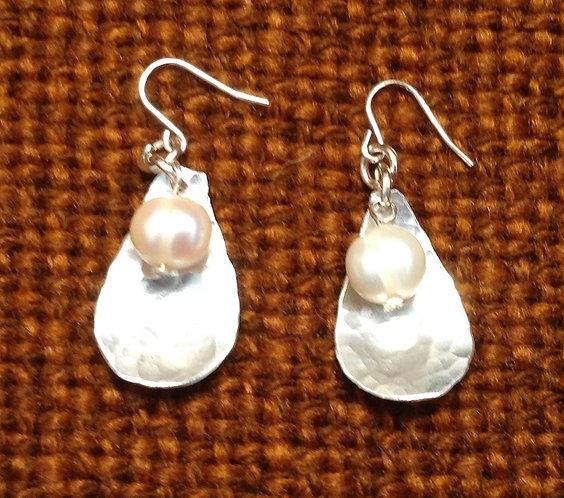Aluminium Mussel and Pearl Earrings