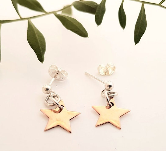 Copper Star Earrings