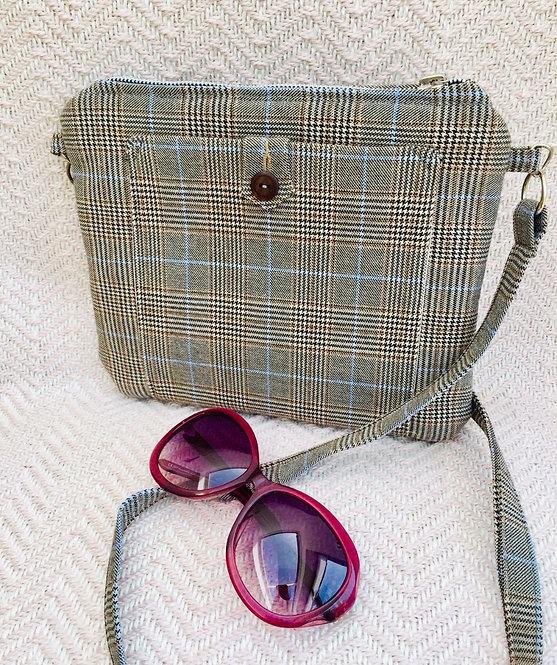 Grey Check Shoulder Bag