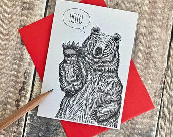 'Hello' Bear Card