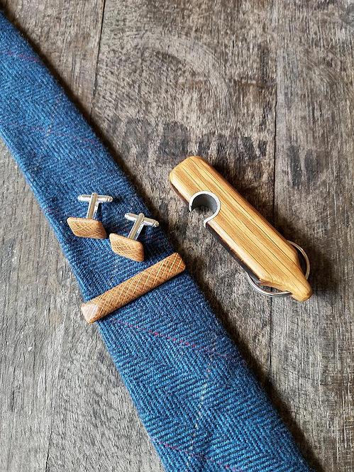 Tie Clip, Cufflinks and Opener Gift Set