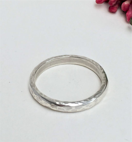 Silver Hammered Ring Band