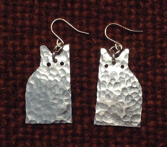 Aluminium Sitting Cat Earrings