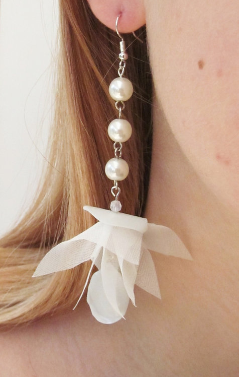 Pearl and Flower Earrings