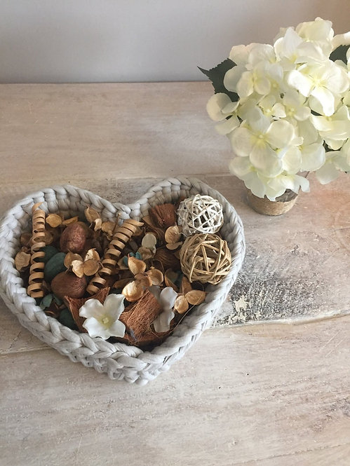 Large Crochet Heart Basket