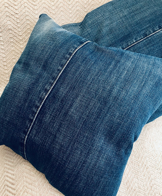 Denim and Blue Print Cushion