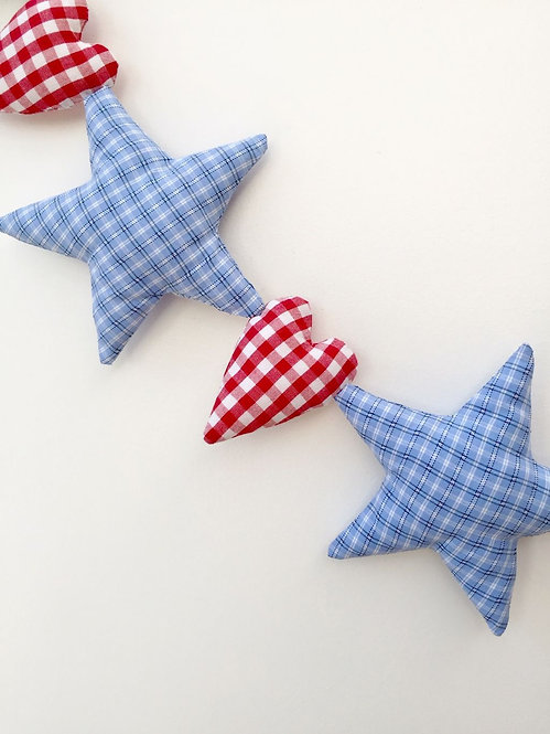 Named Star and Heart Hanging Decoration - Blue and Red