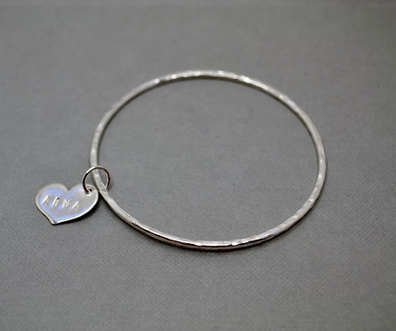 Textured Silver Charm Bangle