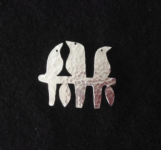 Aluminium Birds on a Stick Brooch