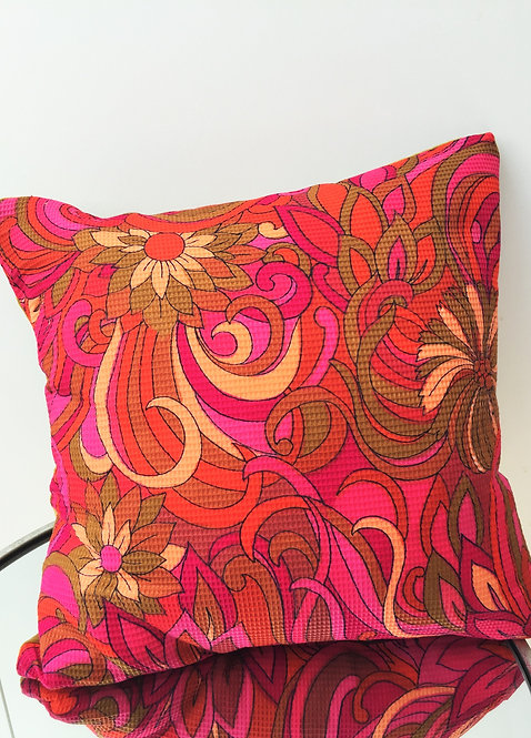 Vintage Square Fabric and Velvet Cushion
