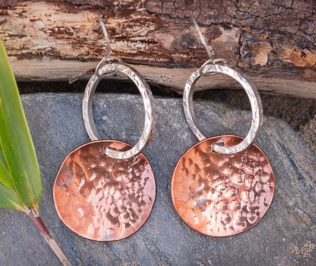 Copper and Silver Disc and Hoop Earrings