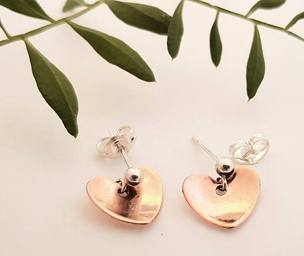 Copper Heart Stud Earrings