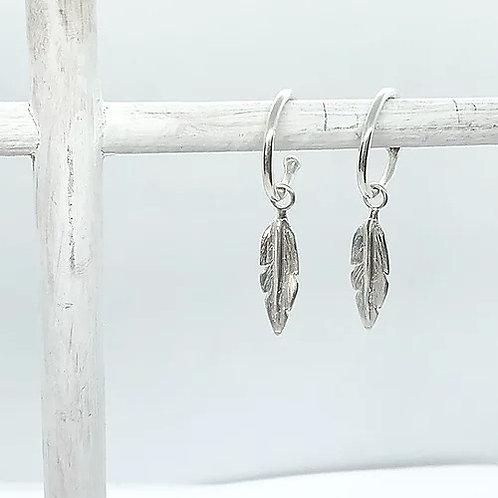 Feather Charm Hoop Earrings