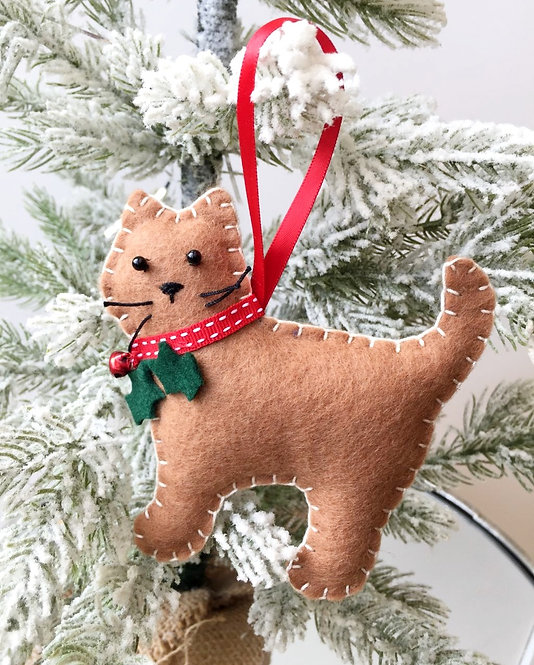Brown Cat Christmas Decoration