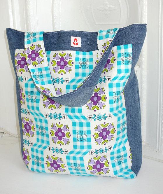 Retro Floral Denim Bag