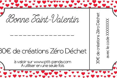 Bon d'achat Saint Valentin 30€
