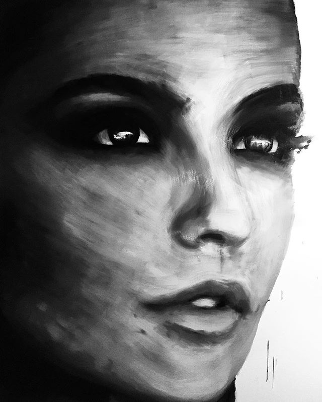 Started a new painting today ⚫⚪️ #New #oil #painting #girl #model #black #white #eyes #art #gallery