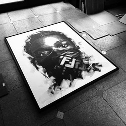Framed and ready to go on a wall _#painting #art #contemporaryart #face #portrait #black #blackandwh