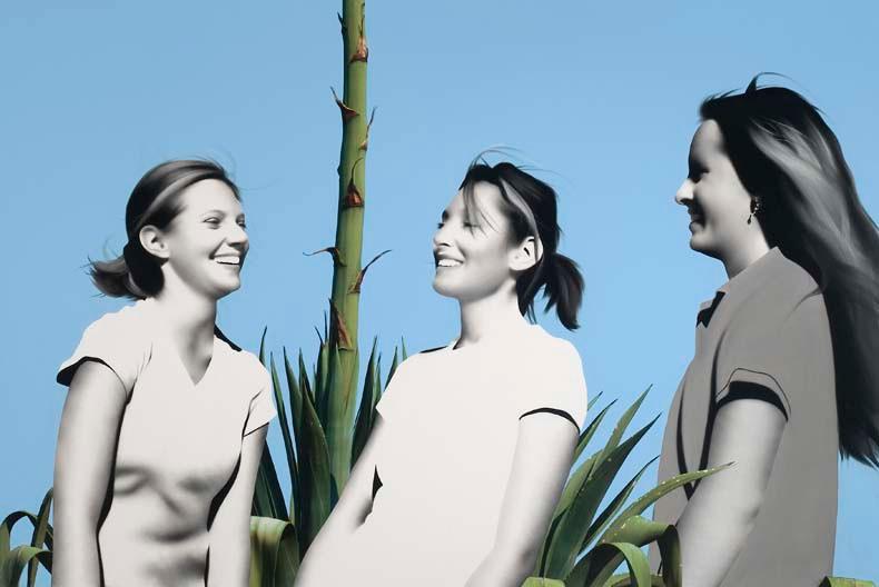Abby, Dena and Sarah with century plant