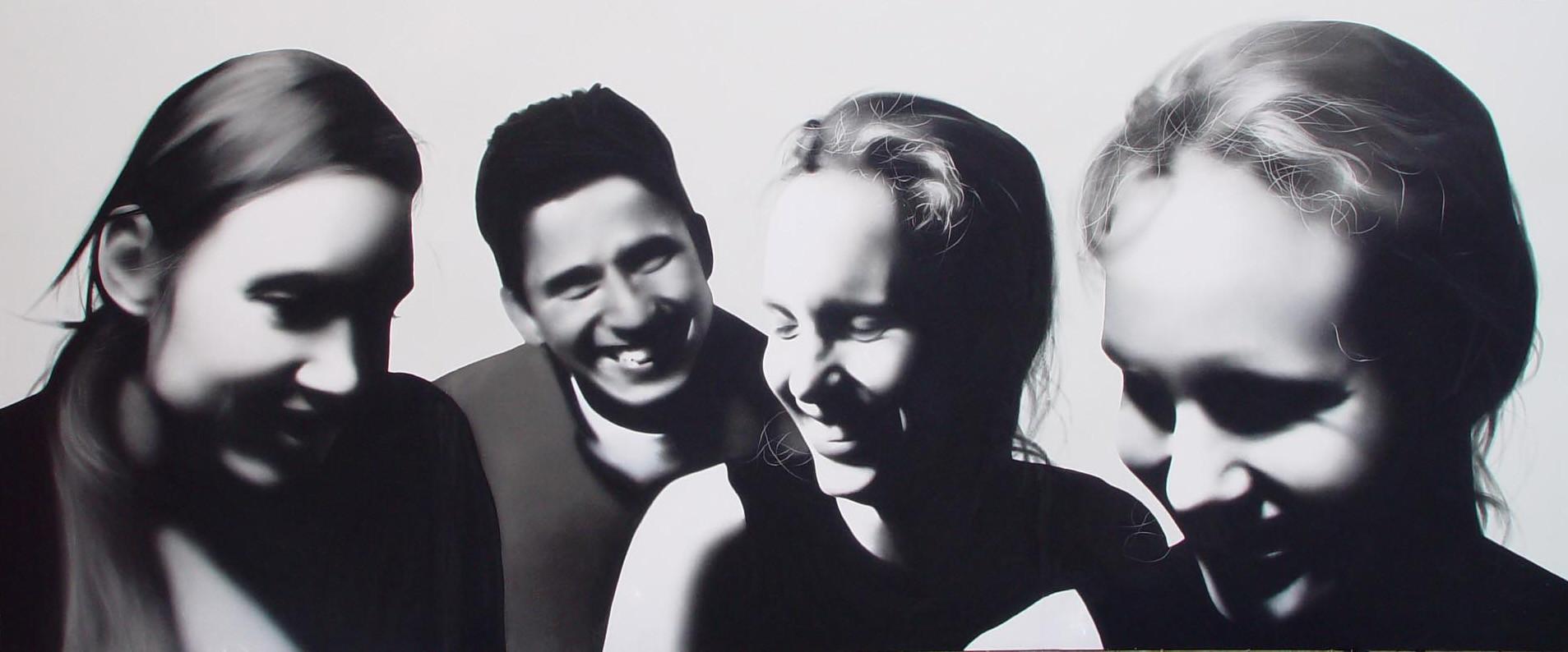 Self-Portrait juxtaposed with Rob, Sarah and Sarah