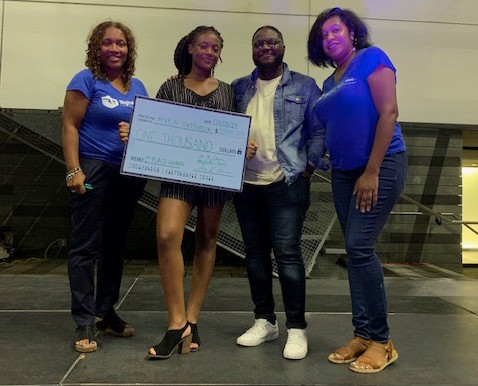 Toni, Myea and Michelle Pose with 2018 Voices of Brooklyn First Place Winner, Matt Thomas